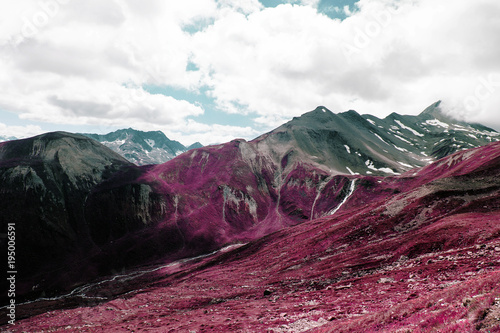 Poster Crimson Beautiful mountains and landscape in the alps switzerland in color infrared