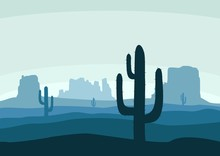 Desert Landscape With Cactus, Hills And Mountains Silhouettes. Nature Background Of A Mountain Landscape. Extreme Tourism And Travelling. Vector Illustration