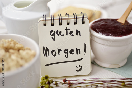 Fotografía  breakfast and text good morning in german