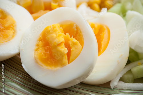 closeup of hard boiled eggs in a plate