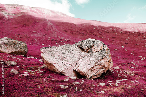 In de dag Crimson A big rock on the swiss alps in color infrared