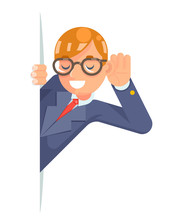 Eyeglasses Eavesdropping Ear Hand Listen Overhear Spy Out Wcartoon Male Businessman Isolated Character Flat Design Vector Illustration