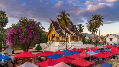 Canvas Prints Temple The night souvenir market in Luang Prabang, Laos.