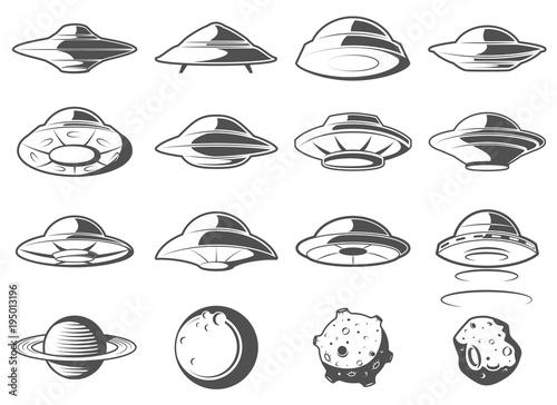 Photo  Alien spaceship, spacecrafts and ufo set