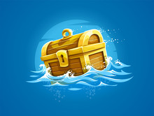 Piratic Trunk With Treasures And Gold Floating Among Waves