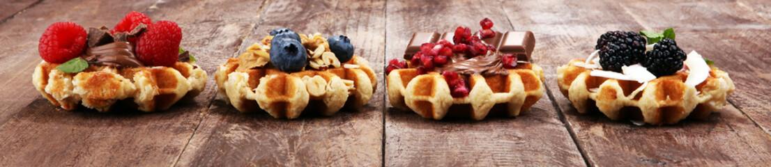 Belgian waffles with pomegr...