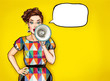 Leinwandbild Motiv Pop art girl with megaphone. Woman with loudspeaker. Advertising poster with lady announcing discount or sale.