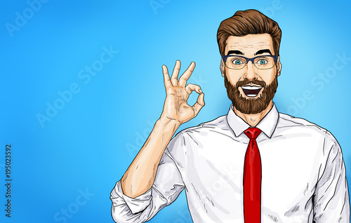 Smiling Businessman in glasses with OK sign. Happy office worker in a white shirt and a red tie. Advertising design of person that guarantees the quality of work or services.