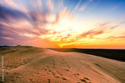 Papiers peints Route 66 Colorful Sunset over sand dunes at Jaisalmer
