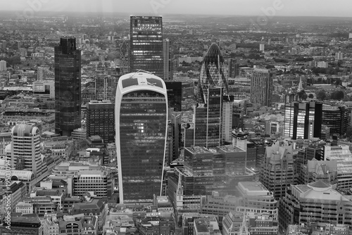 LONDON - SEPTEMBER 24, 2016: Aerial view of City of London skyline. The city attracts 30 million tourists annually