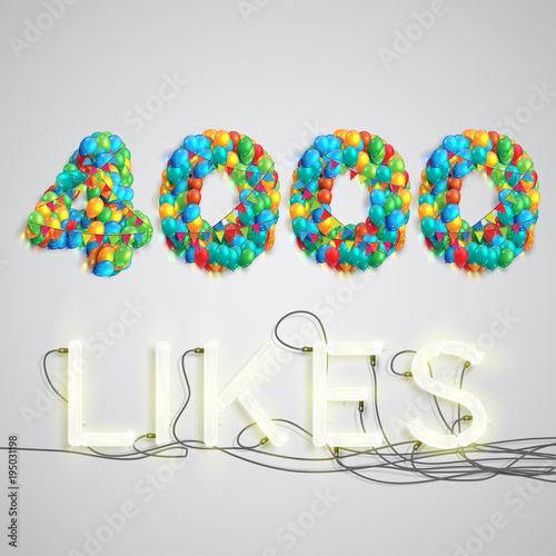 Fotografie, Obraz  Number of likes made by balloon, vector illustration