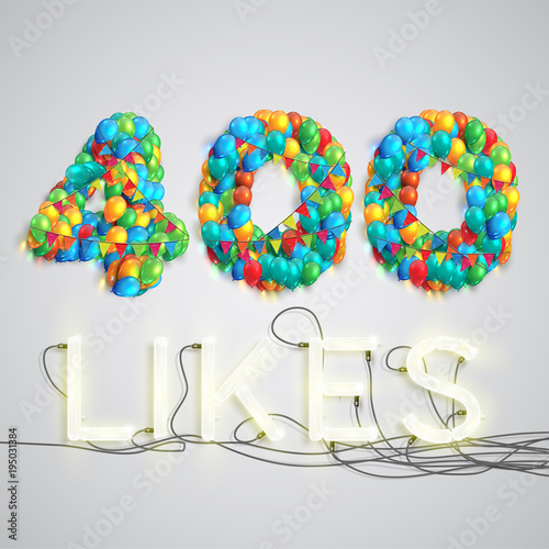 Fotografia  Number of likes made by balloon, vector illustration
