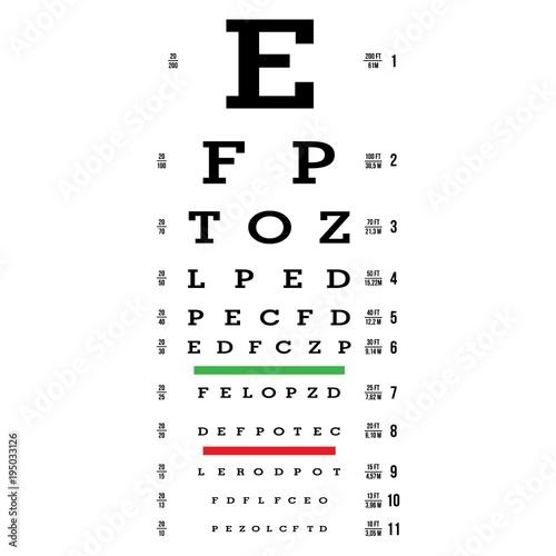Eye Test Chart Vector Letters Chart Vision Exam Optometrist Check