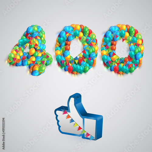 Number of likes made by balloon, vector illustration Fototapete