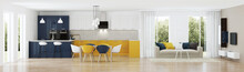 Modern House Interior With Yel...