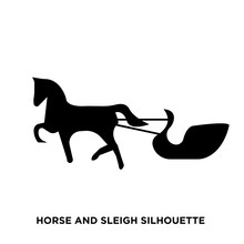 Horse And Sleigh Silhouette On White Background
