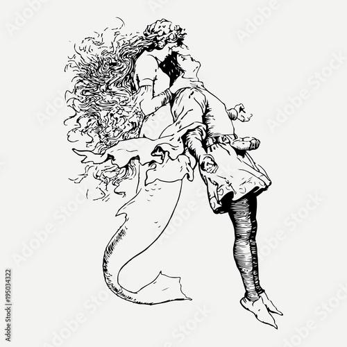 Foto op Plexiglas Mermaid with a man hand drawn ink sketch illustration.