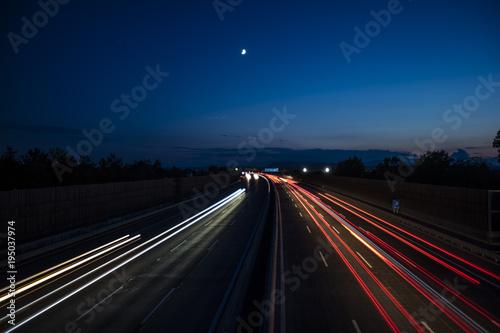 Foto op Aluminium Nacht snelweg light trace from the cars on night highway