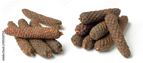 dried long pepper, piper longum isolated on white