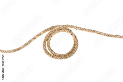 Obraz loop of linen rope isolated on white background - fototapety do salonu