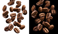 Falling Coffee Beans Isolated ...