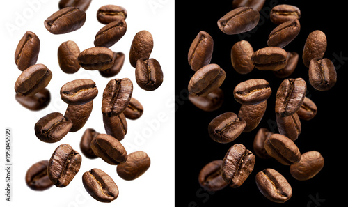 Foto op Canvas Koffiebonen Falling coffee beans isolated on white and black background