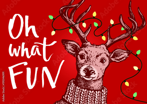 621572406e8c0 Vector pen and ink hipster vintage style portrait of a reindeer wearing a knitted  sweater with Christmas lights string in antlers
