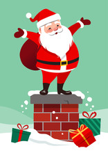 Vector Cartoon Illustration Of Cute Smiling Santa Claus Standing On A Chimney With Bag On His Back, Colorful Wrapped Gifts Lying Around In The Snow, On Aqua Green Background. Christmas Design Element.