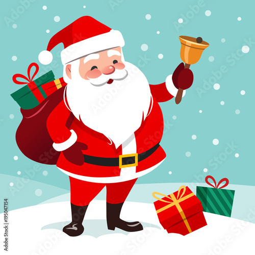 Fotografía  Vector cartoon illustration of friendly smiling  Santa Claus ringing a bell, sack with gifts on back, snow falling in the background, presents lying around on the ground