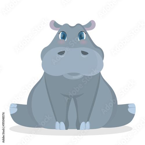 Photo Isolated baby hippo.