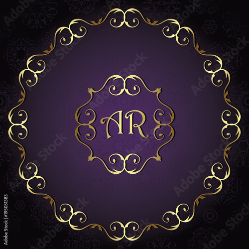 vintage background card invitation with vintage round frame wedding design gold luxury frame and violet background buy this stock vector and explore similar vectors at adobe stock adobe stock adobe stock
