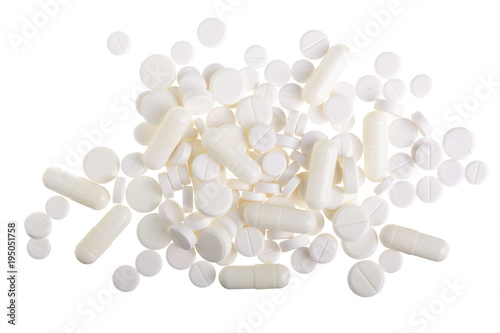 Foto op Canvas Kruiderij white pill capsule isolated on white background. Top view. Flat lay