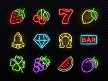 Slot Machine Bright Neon Vecto...