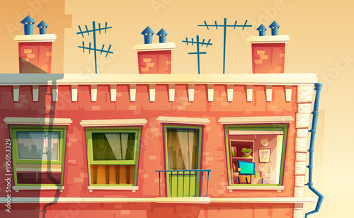 Vector illustration of facade multi-storey apartment, home ...