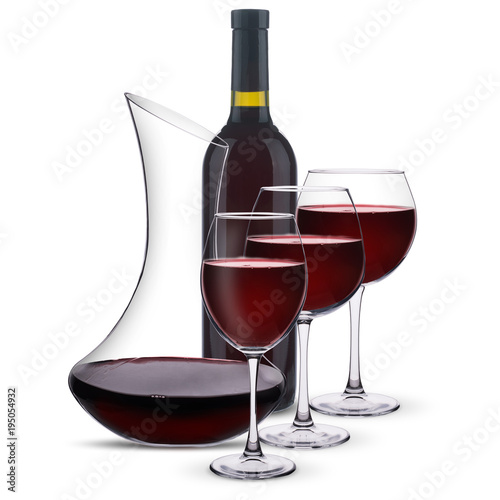 red wine with a decanter and a bottle on a white background Canvas Print