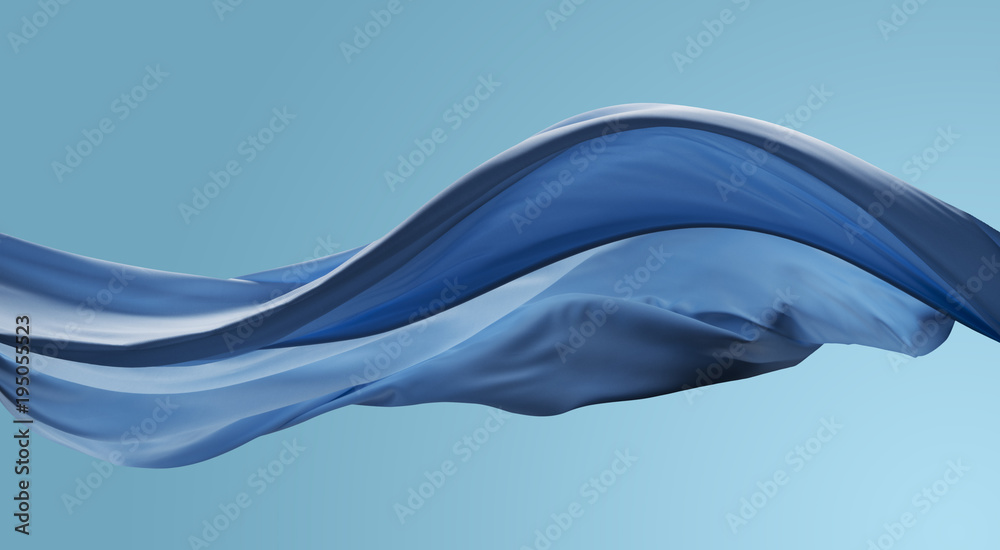 Fototapety, obrazy: cloth wave movement in the air on blue sky tone background
