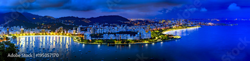 Printed kitchen splashbacks Rio de Janeiro Panoramic image of Rio de Janeiro seen from above at night with its lights, hills, streets, Gaunabara bay and Santos Dumont airport