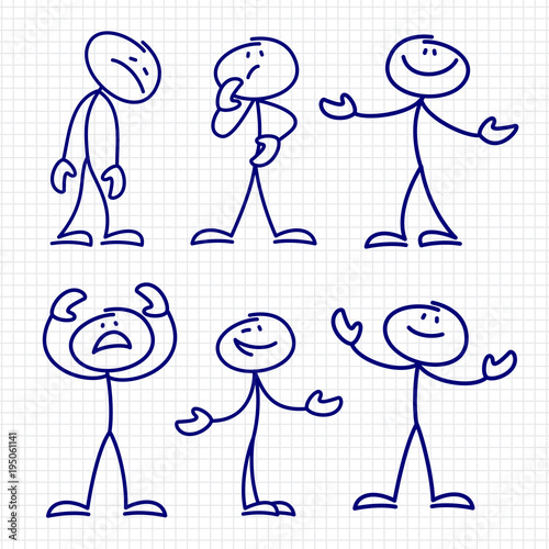 Carta da parati Simple hand drawn stick figures set vector
