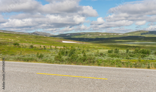 Foto op Aluminium Bleke violet The characteristic landscape of the Arctic tundra in summer, Norway