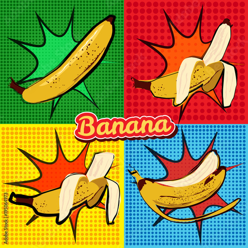 Fototapeta Banana opened banana bitten banana peel banana pop art vector illustration, isol