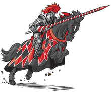 Knight On Horse Jousting Vector Cartoon
