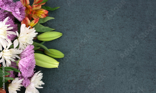 Photo Stands Floral Beautiful Colorful Spring Flowers Bouquet Over Blackboard Texture Dark Background With Copy Space, Horizontal