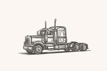 American Truck Hand Drawn Sketch. Vector.
