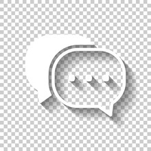 Chat Icon. White Icon With Shadow On Transparent Background