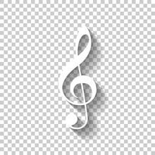 Simple Icon Of Treble Key. Whi...