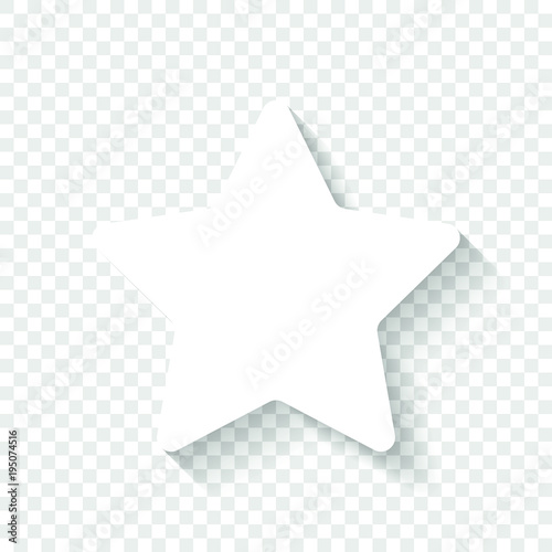 Star icon. White icon with shadow on transparent background Wall mural