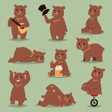 Ccute Cartoon Vector Bear Emot...