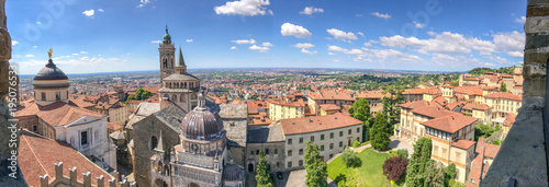 Bergamo Alta aerial panoramic view in summer season Fototapet