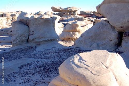 Fototapety, obrazy: Macro photo of sunset lighting in white eroded sandstone in the Bisti De Na Zin badlands of New Mexico badlands