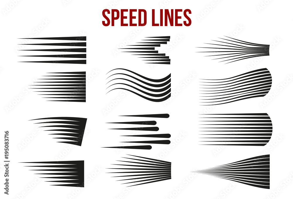 Fototapety, obrazy: Speed lines black for Manga and Comic vector elements on white background.